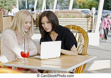 deux, joli, jeunes femmes, conversation
