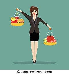 deux, jonque, femme, peser, business, nourriture, deux, sain...