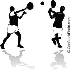 deux, joueurs tennis