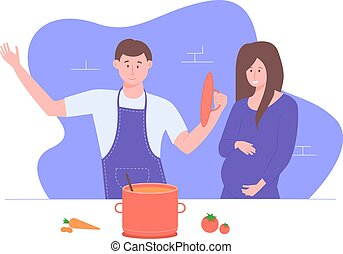 deux, kitchen., famille
