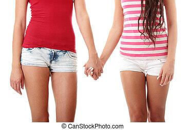 deux, lesbienne, femmes