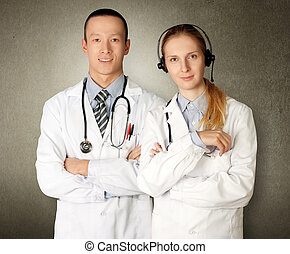 deux, médecins, sourires, appareil-photo