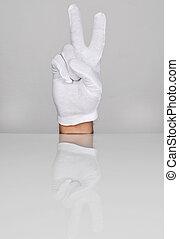 deux, main, doigts, pointage, haut.