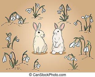 deux, main, lapins, paques, dessiné, coloré, illustration, ...