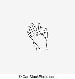 Dessin soleil haut main monochrome fin contour soleil haut illustration main - Dessin 2 mains ...
