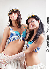 deux, marin, femmes