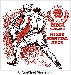 deux, martial, combattants, mélangé, arts., allumette