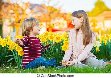 deux, mignon, gosses, petit garçon, et, sien, grande soeur, jouer, dans parc, entre, jaune, jonquilles, fleurs, à, coucher soleil