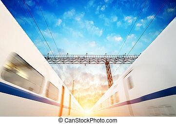 deux, moderne, train grande vitesse, à, ternissure mouvement