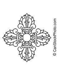 deux, mot, diamant, symbole, bouddhiste, -, illustration,...