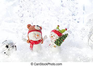 deux, noël, snowmen, décorations, rigolote