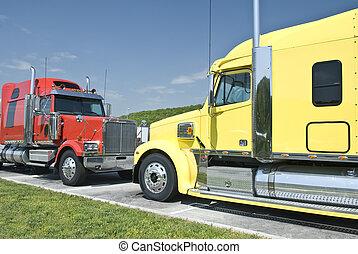 deux, nouveau, semi-trucks