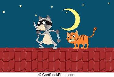 deux, nuit, toit, chats