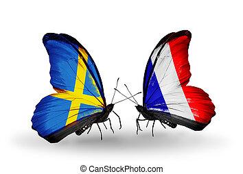 deux, papillons, à, drapeaux, sur, ailes, comme, symbole, de, relations, suède, et, france