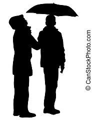 deux, parapluies, gens