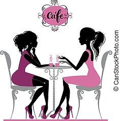 deux, parler, café, filles