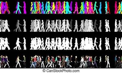 deux personnes, directions, élément, 3d, marche, -, foule, vidéo, animation