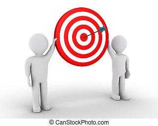 deux personnes, tenue, cible, à, flèche, à, les, centre