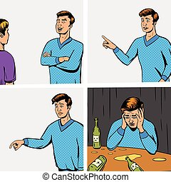 deux personnes, vecteur, bande, comique, débat