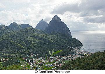 Deux Pitons, Saint Lucia, Caribbean - View over Soufriere...