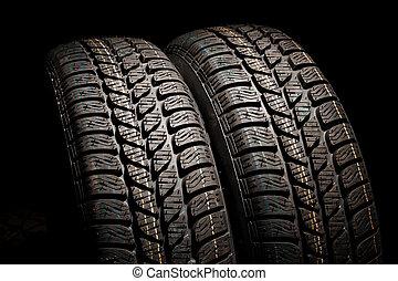 deux, pneus, grand plan