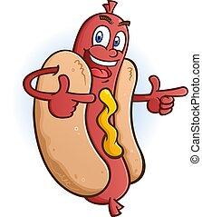 deux, pointage, caractère, chien, doigts, chaud, dessin animé