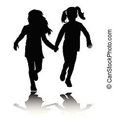 deux, preschooler, filles, tenant mains, et, courant, silhouettes