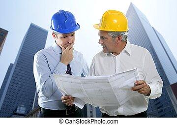deux, projet architecte, équipe, hardhat, compétence, ingénieur