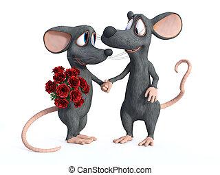 deux, rendre, souris, dessin animé, dating., 3d