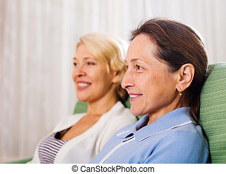 deux, retraités, femme