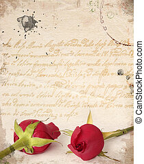 deux, roses rouges, vendange, carte