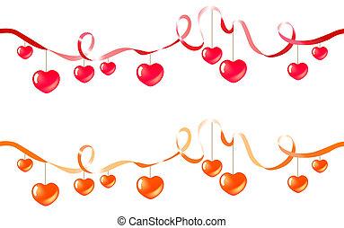deux, seamless, hearts., pendre, soie, rubans