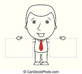 deux, signe, tenue, vide, homme affaires, sourire, ligne