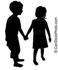 deux, silhouette, enfants