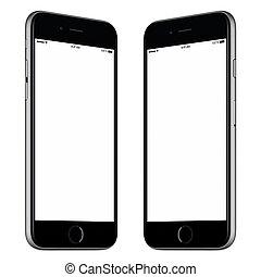 deux, smartphone, mockup, écran, tourné, isolé, arrière-plan noir, vide, blanc, légèrement, côtés