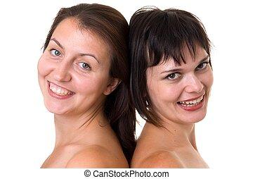 deux, sourire, femmes