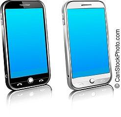 deux, téléphones, cellule, intelligent, mobile, 3d