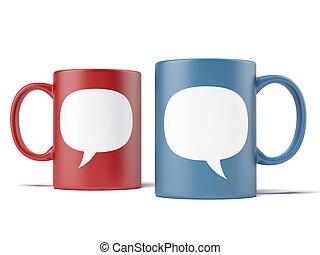 deux, tasses, à, bulle, discours