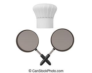 deux, traversé, 3d, casseroles, chapeau, chef cuistot, rendre