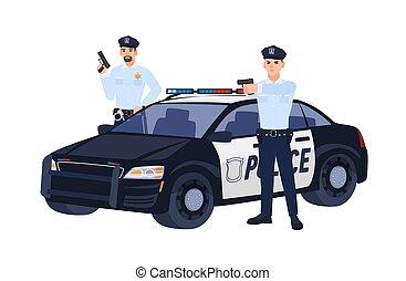 deux, voiture, debout, police, isolé, uniforme, arrière-plan., tenue, blanc, fusils, plat, les, coloré, flics, caractères, viser, dessin animé, illustration., quelqu'un., policiers, vecteur, ou, operation.