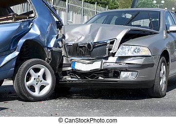 deux, voitures, ecrasé