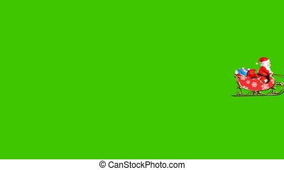 deux, voler, animation, claus, santa, renne, beau, 3d, cameras, 4k, fond, traîneau, vert