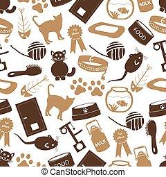 devítiocasá kočka, muchlat se, věc, jednoduchý ikona, seamless, barva, model, eps10