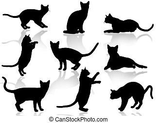 devítiocasá kočka, silueta