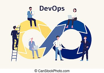 Dev Ops, development and operations technology flat vector ...