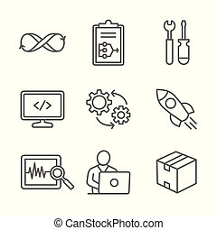 Dev Ops Icon Set - Plan, Build, Code, Test, Release, Monitor, Operate and Package