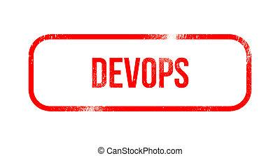Dev Ops - red grunge rubber, stamp