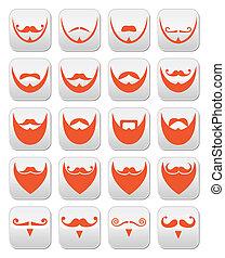 deva, bigode, ou, gengibre, barba