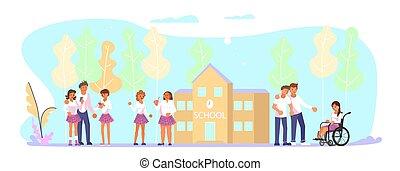 devant, école, groupe, ados