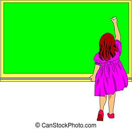 devant, école, planche, girl